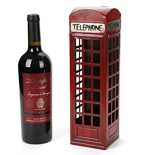 Unabhängiges Metall-Weinregal auf der Arbeitsplatte, Einzigartige Retro-Telefonzelle 1 Flasche Weinregal, Geeignet für Weinschrank, Restaurant, Weinkeller, Schrank, Abstellraum, (Farbe: Vintage Copper -