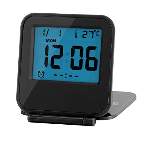 Reloj de Alarma Plegable Portátil Ultra Delgado/ Despertador Digital con Temperatura Calendario Fecha Semana(black)