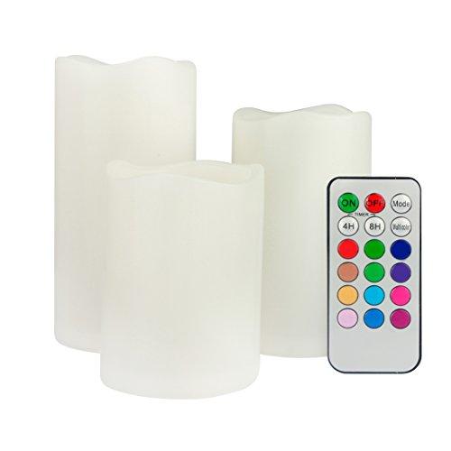 #ECOLUX® 3er Set flammenlose LED Kerzen Farbwechselkerzen batteriebetrieben mit Fernbedienung & Timer#