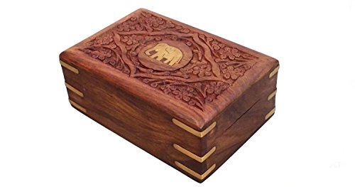 Stylla London� Hand Carved Elephant Embossed Small Wooden Treasure Chest Storage Box Perfect Jewellery boxes for women 7x5Inch