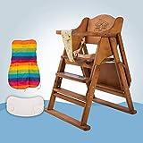 ZLMI Baby-Esstisch Multi-Funktion Tragbare Klapp-Esszimmer Baby Massivholz Esstisch 0-6 Jahre Alt,B