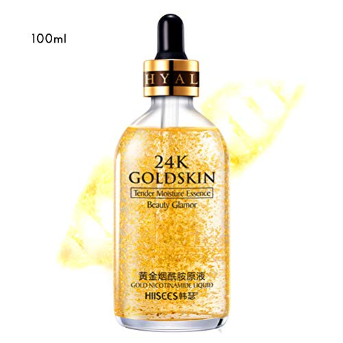 24K Gold Essence Anti Wrinkle Whitening Collagen Moisturizing Hyaluronic Acid Liquid,Anti-Aging Feuchtigkeitspflege Gel für Normale Hau,Trockene Haut,Fettige Haut, Mischhaut (100ml) -
