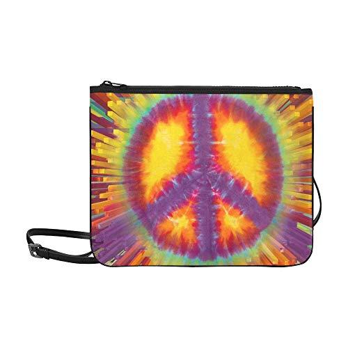 WYYWCY Tie Dye Peace Sign Extrusion Kundenspezifische, hochwertige Nylon-dünne Clutch-Tasche Umhängetasche mit Umhängetasche - Peace-zeichen-geldbörse