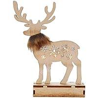 Vosarea Decoraciones navideñasLighting Elk Wood Process Ornamentos de Mesa para Navidad sin baterías