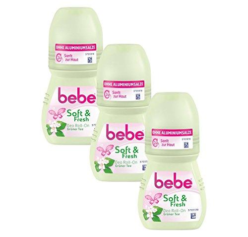 Bebe soft und fresh deo Roll On Grüner Tee, Sanfter Deo Roller ohne Aluminium, mit frischem Duft von grünem Tee - 24 h zuverlässiger...