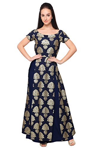 Ahalyaa-Blue-Colored-Half-Sleeve-And-Boat-Neck-Faux-Crepe-Kurti