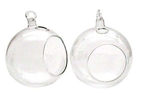 Preisvergleich Produktbild 2er-Set Glaskugeln klar offen Kerzenhalter Ø8cm Teelicht Kerze Christbaumschmuck