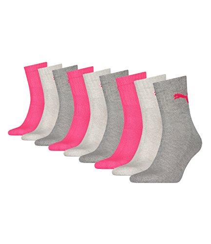 PUMA unisex Sportsocken Tennissocken Kurzschaft Short Crew 231011001 9 Paar, Farbe:Mehrfarbig, Menge:9 Paar (3x 3er Pack), Größe:35-38, Artikel:-656 middle grey mel. / pink