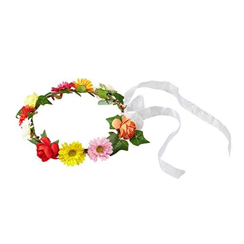 Amakando Hippie Style Kopfschmuck Haarband Blumen bunt Flower Power Haarschmuck Blumenhaarband Blüten 60er Jahre Kleidung Kostüm Blumenkranz Kopfband