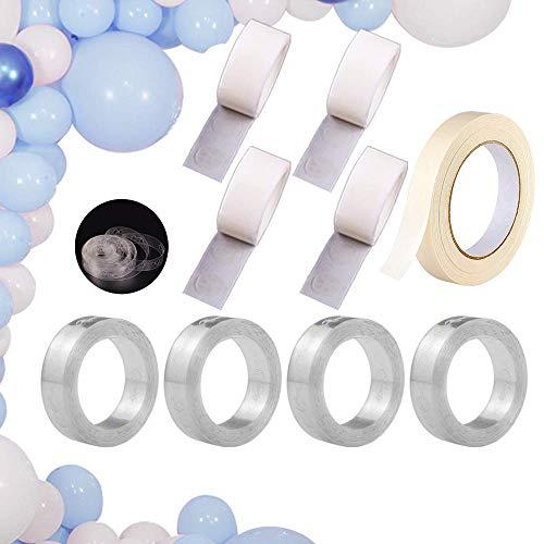 TECHSHARE 4 Rollen Ballon Streifen Ballonkette, 4 Rollen Ballons Kleber Punkt Punkte Aufkleber, 1 Rollen Klebeband Luftballons Zubehör Set für Geburtstags Hochzeit Party Dekorationen