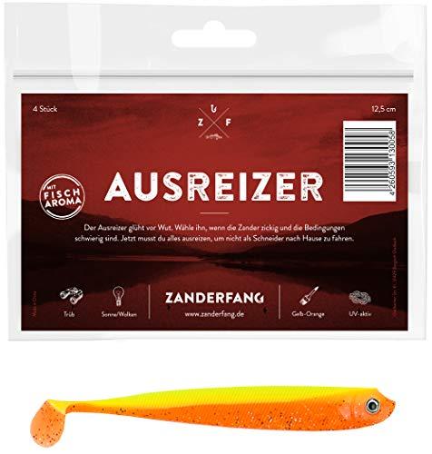 Zanderfang 4 Gummifische zum Zanderangeln mit Gummifisch Ausreizer | gelb-orange | 12,5 cm