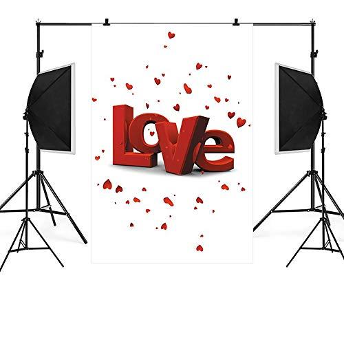 Sannysis Hintergrund Fotostudio 90x150cm Hintergründe 3D Liebe Valentinstag Fotohintergrund Requisiten Vintage Mode Familie Fotoshooting Photobooth Props E (Für Erwachsene Valentinstag-basteln)