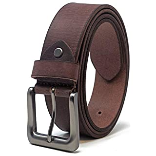Ashford Ridge Mens 38mm Full Hide Real Leather Belt for Jeans - Brown Large