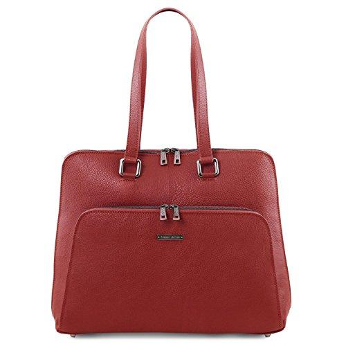 Tuscany Leather - Lucca - Borsa business TL SMART in pelle morbida per donna - TL141630 (Nero) Rosso