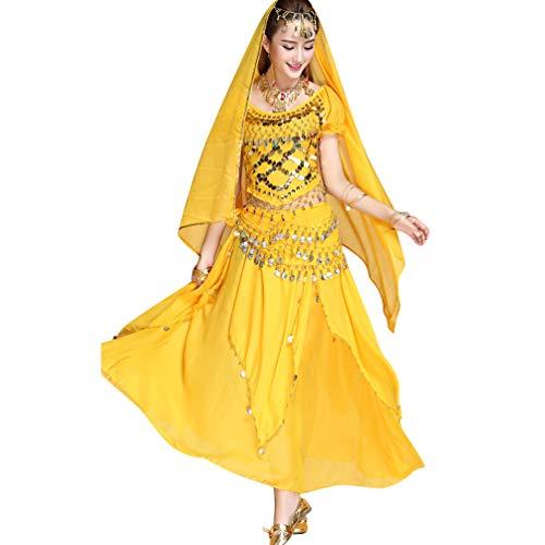 TianBin Damen Chiffon Bauchtanz-Kostüm Kurzarm Top Röcke Halloween -