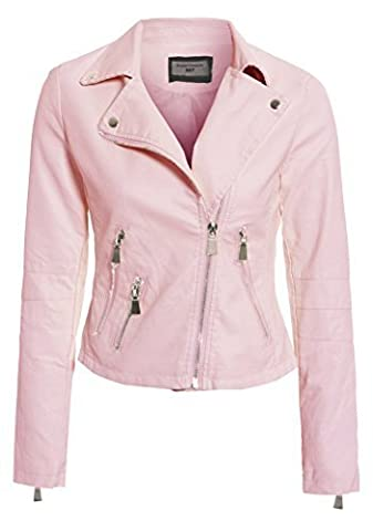 SS7 NEUF Femmes Faux Cuir Veste motard, rose pâle, Tailles 8 pour 14 - Rose Clair, 38