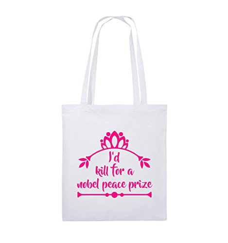 Comedy Bags - I'd kill for a nobel peace prize - Jutebeutel - lange Henkel - 38x42cm - Farbe: Schwarz / Silber Weiss / Pink