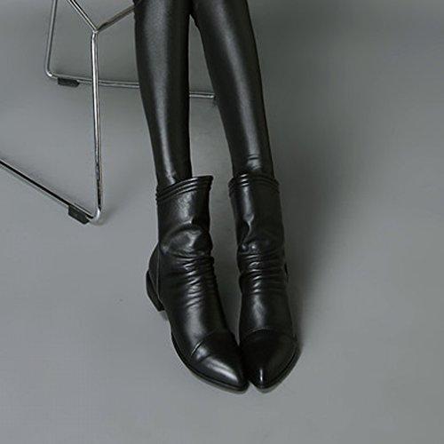 XAI Scarpe da Donna 17 Stivali Autunno-Inverno con Cerniera Lampo Pantaloncini Martin con il Ruvido con Comodi Stivali Femminili a Punta Nero