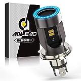 Bombilla H4 LED para Moto con Ojos de Angel, 6400LM Moto LED Faro, 12V 1 Lámpara