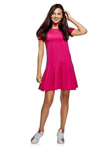 oodji Ultra Damen Baumwoll-Kleid mit Ausgestelltem Saum, Rosa, DE 34 / EU 36 / XS -