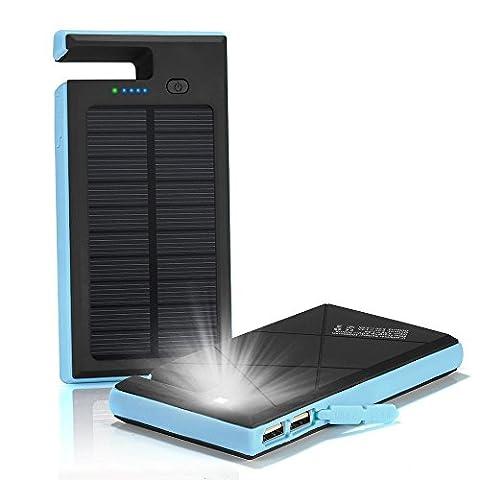 Solar Ladegerät Power Bank 12000mAh Dual USB-Solar Charger SunPower Solaraufladeeinheit Halter-Aufladeeinheit wasserdichtes bewegliches Doppel-USB-Aufladeeinheit Errichtet im LED-Licht für iPad iPhone Android-Handys am Notfall draußen (Blau)