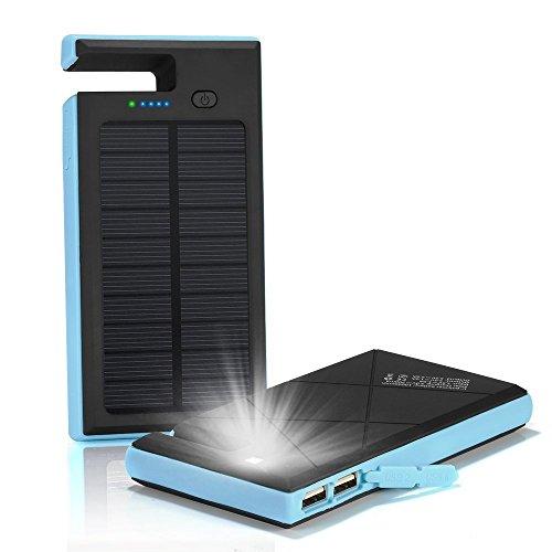 Solar Ladegerät Power Bank 12000mAh Dual USB-Solar Charger SunPower Solaraufladeeinheit Halter-Aufladeeinheit wasserdichtes bewegliches Doppel-USB-Aufladeeinheit Errichtet im LED-Licht für iPad iPhone Android-Handys am Notfall draußen (Blau) (Solar-power-gps)