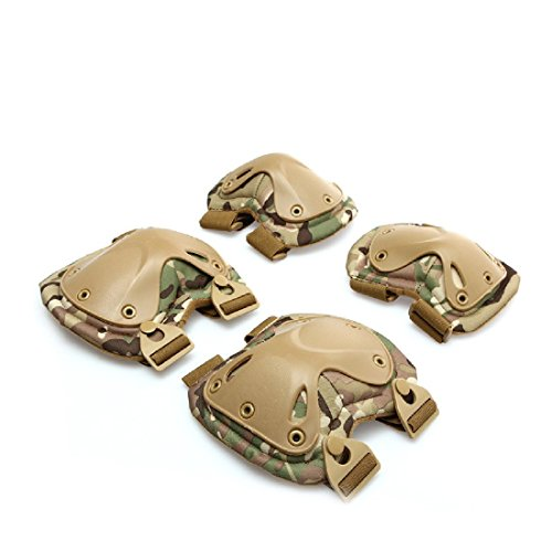 Airsoft Tactical rodilla ajustable Elbow protección Pads Set Equipo de protección deporte...