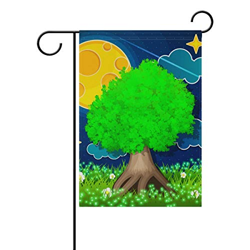Garten-Flagge, Märchenbaum, Mond, Meteor, 30,5 x 45,7 cm, Banner, doppelseitig, für Rasen, Hof, Außendekoration, Polyester, Image 796, 28x40(in)