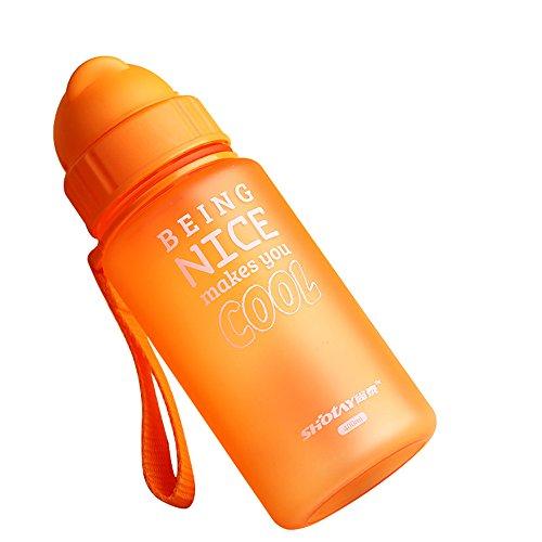 mit auslaufsicherer BPA-frei Wasser Flasche mit Strohhalm trinken Flasche Lebensmittelqualität PP Füttern Trinkbecher 400ml Kein überschwappen tragbar kleinen Flasche Flip Deckel Sport Flasche, Orange (Handschlaufe Flasche Wasser)