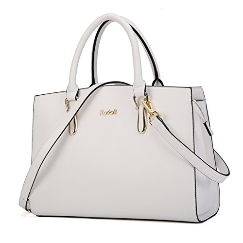 Kadell Frauen Leder Handtaschen Vintage Tote Satchel Schultertasche Top Griff Geldbörse Weiß (Leder-frauen-handtaschen)