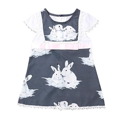 Mädchen Kurzarm Spitze Ostern Tag Kaninchen Print Kleid Kleidung (Grau,120) ()