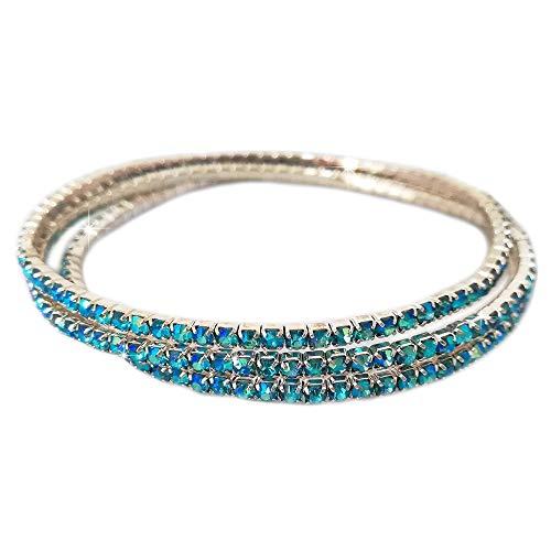 Beloved  Set di 3 bracciali tennis con cristalli - bracciale donna - braccialetto - varie composizioni set - lunghezza adattabile a tutti i polsi (3 BRACCIALI AZZURRO)