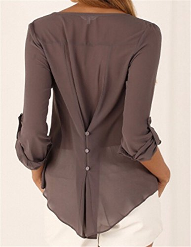 Femmes Occasionnels Menottees Manches Longues Bouton V Cou Pull Chemisiers Robe Chemise Tops brown