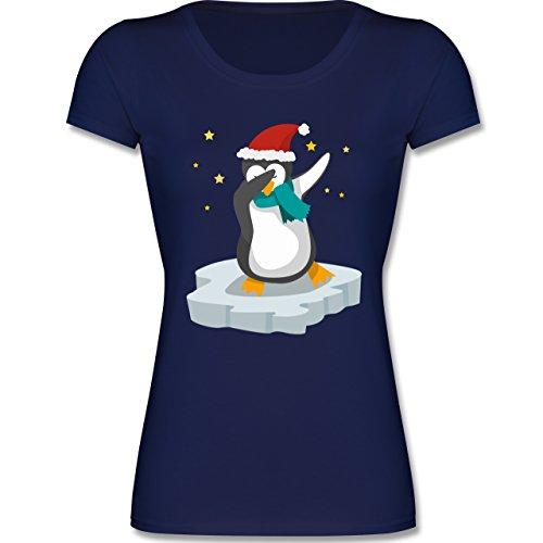 Weihnachten Kind - Dab Pinguin Weihnachten - 152 (12-13 Jahre) - Dunkelblau - F288K - Mädchen T-Shirt (Tänzerin Damen-pink T-shirt)