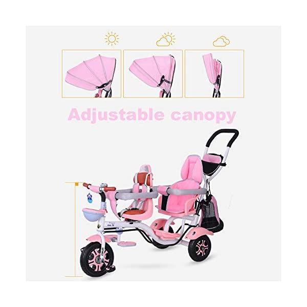CHEERALL Double Children's Tricycle 4 in 1 Trike, Twin Stroller Comfort Two-Seat 3 Wheel Bicycle for Kids with Rotatable Seat, Baby Infant Child Trolley for Age from 6 Months to 6 Years,C CHEERALL 4 in 1 MULTIFUNCTION:The canopy and safety bar can be removed when kids grows, suitable for 4 childhood stages:Guided, Learning, Developing and Independent, besides, the foot pedals can be used as footrests for early stages. SECURITY:Kids trike frame is made of high quality materials. Baby tricycle passed the 3C certification: non-toxic test, flame resistance test and durability test.Suitable for children from 12 months to 6 years. ROTATABLE SEAT & ADJUSTABLE CANOPY:The two seats can be rotated 360°, let the baby play face-to-face in the travel to add fun, positive implementation, and enjoy the outdoor scenery more fun.Adjustable awnings allow you to adjust the different opening modes of the awning depending on the weather. 3