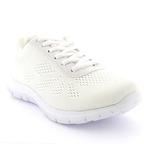 Get Fit Damen Netz Go Lauf Turnschuhe Sportlich Gehen Gym Schuhe Sport - Weiß - 38 - CD0051 - Skechers-sportliche Komfort-schuh