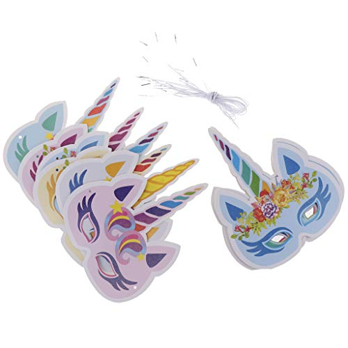 Baoblaze 12x Einhorn Maske Tiermaske Partymaske Kindermaske mit Gummibändern für Geburtstag und Taufe (Magische Einhorn Für Erwachsene Kostüm)
