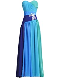 Fashion Plaza bunt Chiffon Regenbogen Abendkleid Herz Form Ausschnitt Kristall Maxikleid D0192