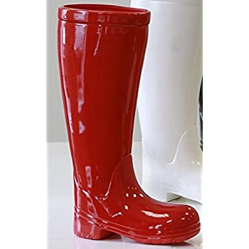 Umbrella Stand Made From Red Ceramic Boots 45 Cm High