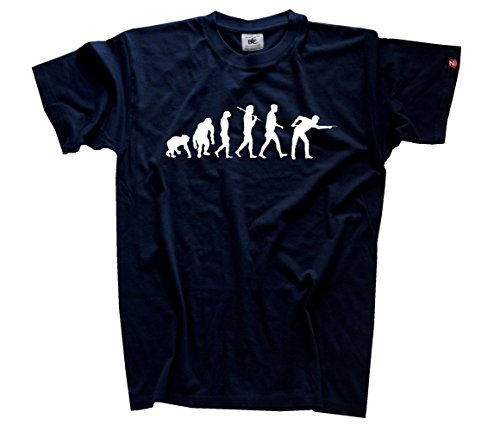 Snooker Billard Pool Kö Billardspieler Evolution T-Shirt Navy L