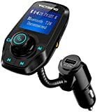 FM Transmitter, VicTsing Bluetooth Car MP3 Player Radio Adapter Hands-free Talking Car Kit with Dual USB Ports, 3.5mm Audio Port, 1.44 Inches Screen Support TF Card and U Disk Memory up to 32G - Black
