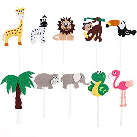 10pcs Safari Jungle Animal Cupcake Cake Toppers Kids Birthday Party Decoration