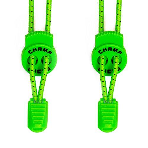 CHAMP LOCKS - Elastische Schnürsenkel mit innovativem Schnellverschluss (1 Paar) - Schnellschnürsystem mit hohem Komfort (Champs-grün)