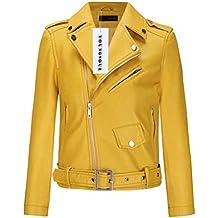 Veste imitation cuir jaune