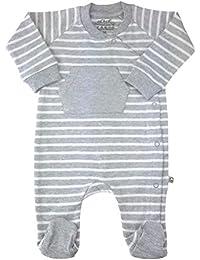 Baby Strampler grau geringelt Bio Baumwolle Gr.56