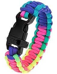 Lixada Corde de Survie /Paracord Bracelet d'Urgence Quick Release Survival Bracelet avec sifflet Buckle