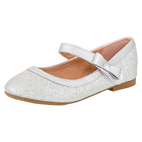Festliche Mädchen Glitzer Ballerinas Schuhe mit Echt Leder Innensohle M407si Silber 33