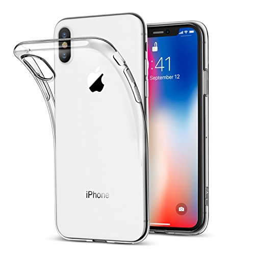 Funda iPhone X  ESR Funda Transparente Suave TPU Gel [Ultra Fina] [Protección a Bordes y Cámara] [Compatible con Carga Inalámbrica] Enjaca Perfecta para Apple Nuevo iPhone X de 5.8 pulgadas 2017  Transparente