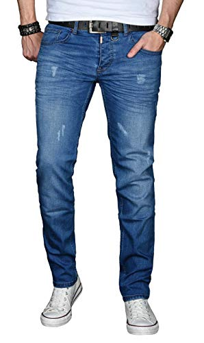 A. Salvarini Designer Herren Jeans Hose Basic Stretch Jeanshose Regular Slim [AS033 - Blau - Used - W32 L30] Blaue Slim Jeans