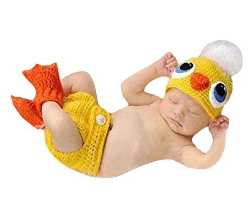 renes Baby Entchen Figur Foto Kostüm Fotografie Prop Handarbeit Bekleidungsset Fotoshooting Stricken Tiere Kostüm Baby Junge Trikot Foto Outfits Requisiten Für 0-1 Monate ()